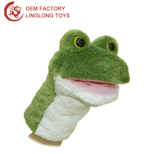 Full Body Big Mouth Sock Hand Puppet Green Frog Story Plush Hand Puppet Fleece Frog Hand Glove Puppet
