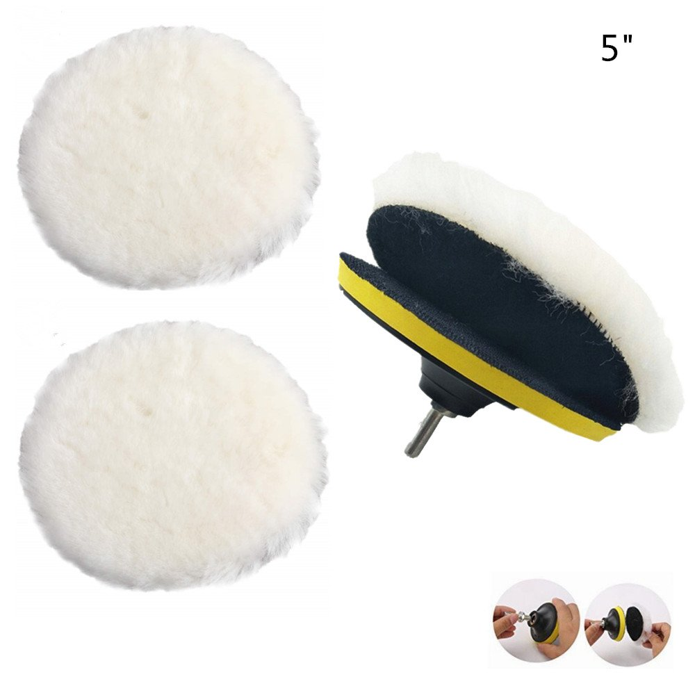 Antrader 5 Wool Buffing Pad Self-Adhesive Woolen Wheel Polishing Pad for Auto Car Pack of 3