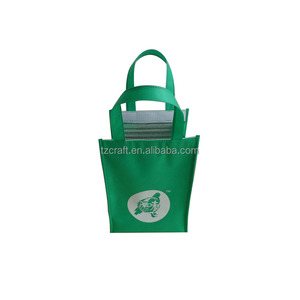 Portable green disposable insulated cooler tote bag aluminium