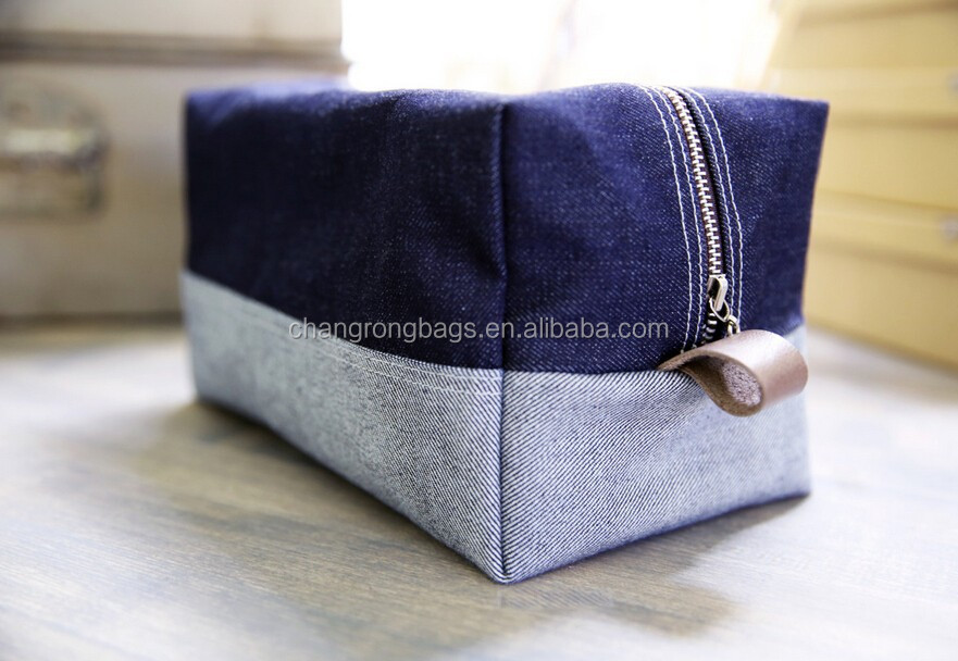 personalized women's waxed canvas toiletry bag /waxed canvas cosmetic bag /selvage denim bags and pouches