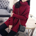 Women 2015 Autumn Winter Sweaters And Pullovers Turtleneck Long Sleeve Plus Size Knitted Sweater pull femme