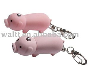 Flashing Pig LED Light Keychain