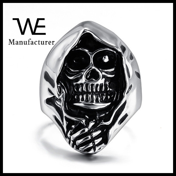 Fashion Jewelry In Stock Retro Punk 316 Stainless Steel Skull Ring For Men Free Sample