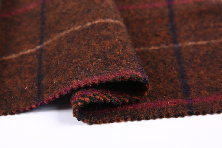 Wholesale plaid 100% wool tweed types of woven fabric from china