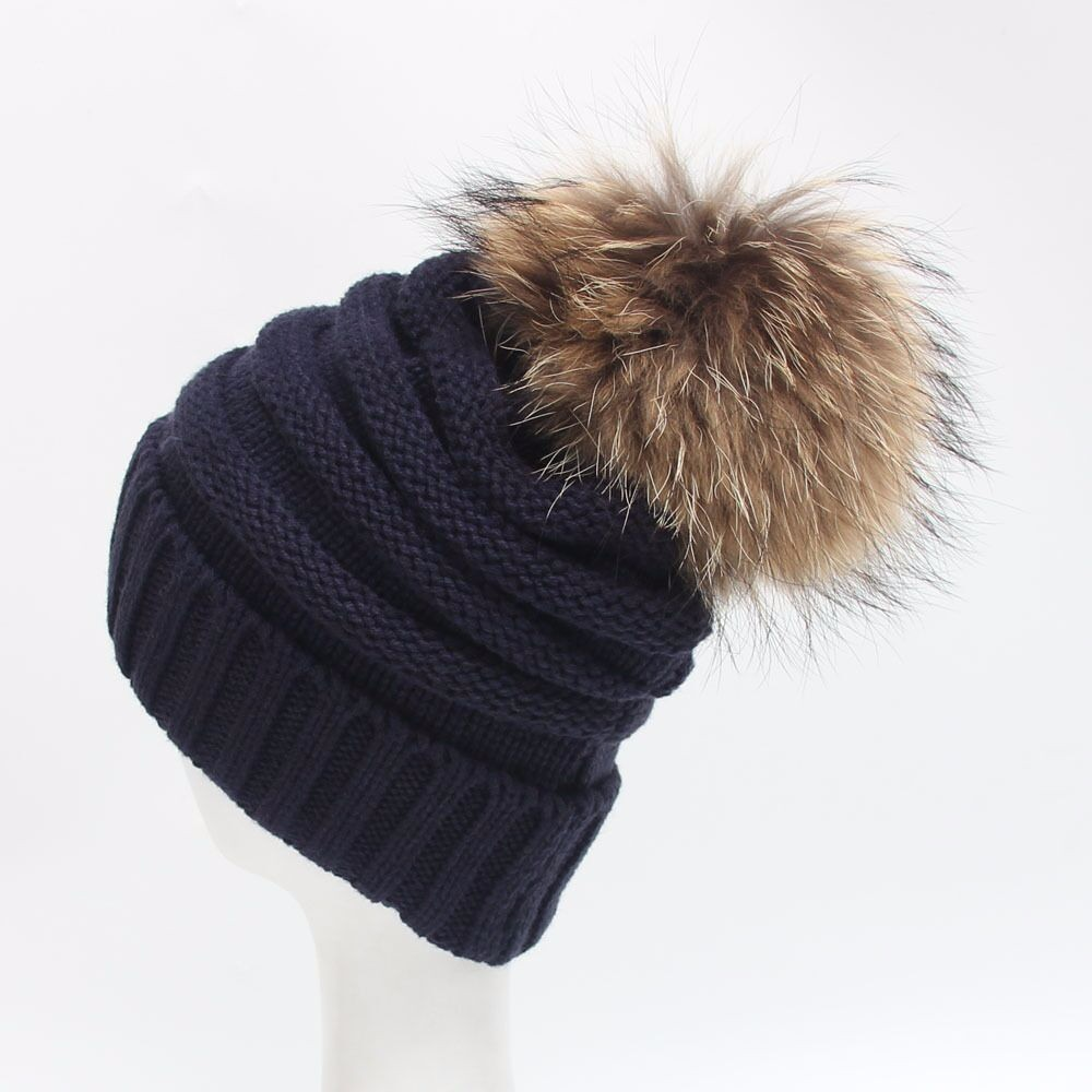 a4fceb325cd Ali-express Crazy Hot Mint color winter slouch beanie   raccoon fur pom  knitted beanie