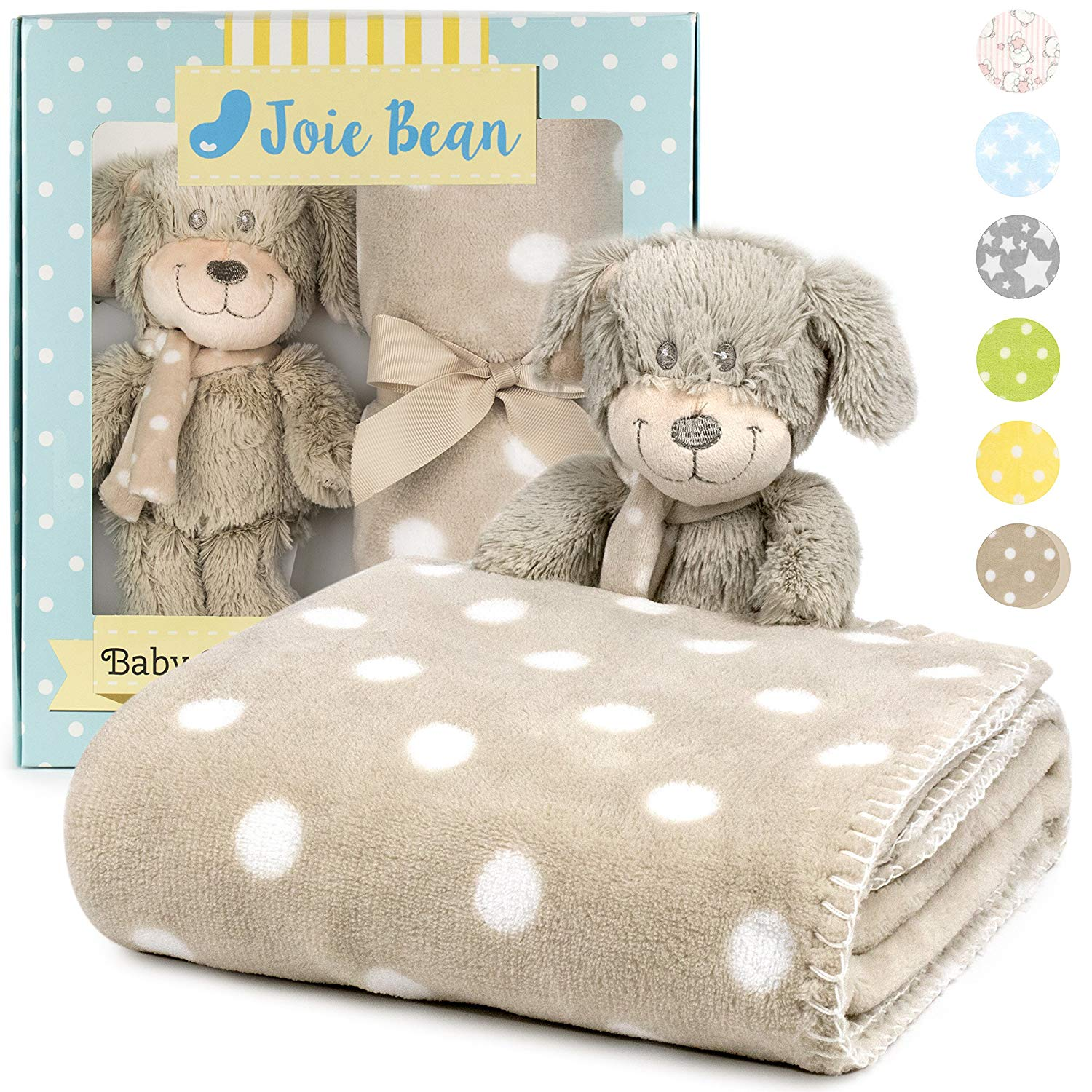 Premium Baby Blanket Set with Stuffed Animal Plush Toy | Soft Fleece Swaddle Blanket, Security Throw for Baby, Newborn, and Toddler | Nursery Bedding and Baby Shower Gift (Brown - Dog)