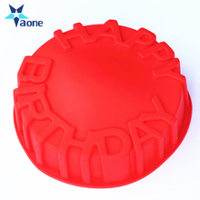 <span class=keywords><strong>Küche</strong></span> Große Runde Form <span class=keywords><strong>Glücklich</strong></span> Geburtstag Kuchen Form Silikon Werkzeuge <span class=keywords><strong>DIY</strong></span> Großhandel