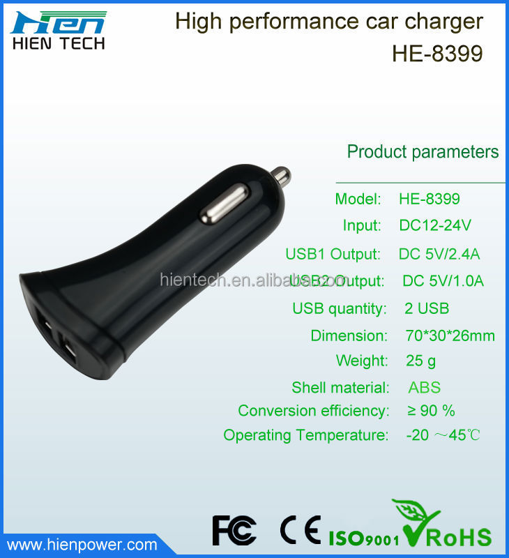 Portable High Speed Charging 1A / 2.4A Dual USB Car Charger Wholesale for samsung galaxy s4,samsung galaxy s5
