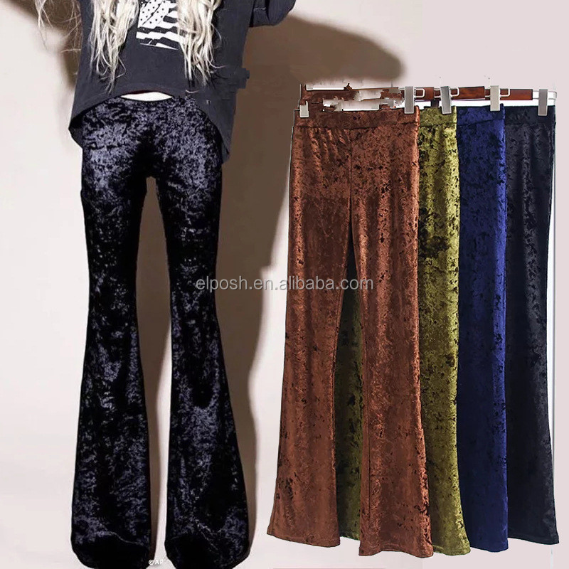 Wholesale Women Velvet Bell Bottoms Fold Down Waistband