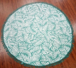 Green Leaves Microfiber Round Beach Towel with Tassels