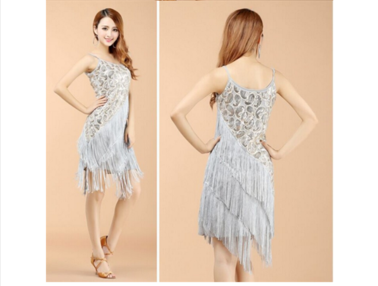 TONGYANG Sexy Women Sequin Tassel Glam Party Great Dress Latin Tango Ballroom Salsa Dance Dress Big Size