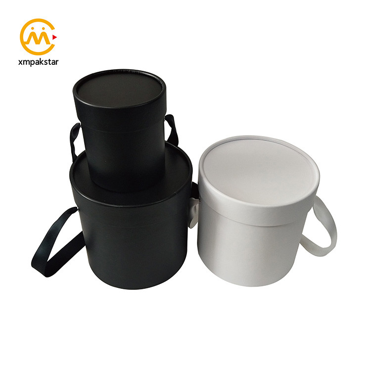 Recycle custom black white cardboard tube paper round handle box for flower
