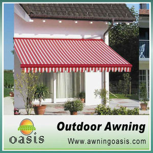 red white stripe fabric awning