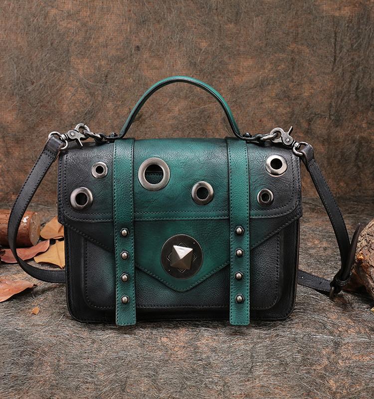 ed143387fa Studded Office Hand Bags Handmade Real Leather Satchel Shoulder Portable  Bags 2018 Women Luxury Handbag