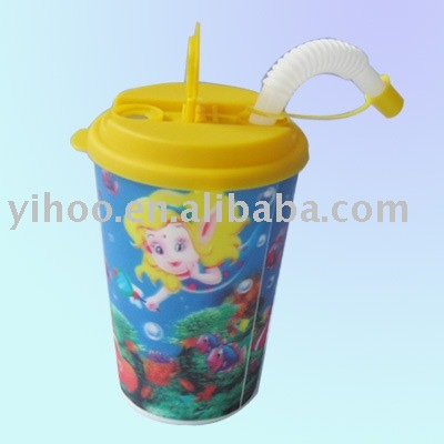 500ML Promotion PP 3D Lenticular Plastic Straw Cup With Lid