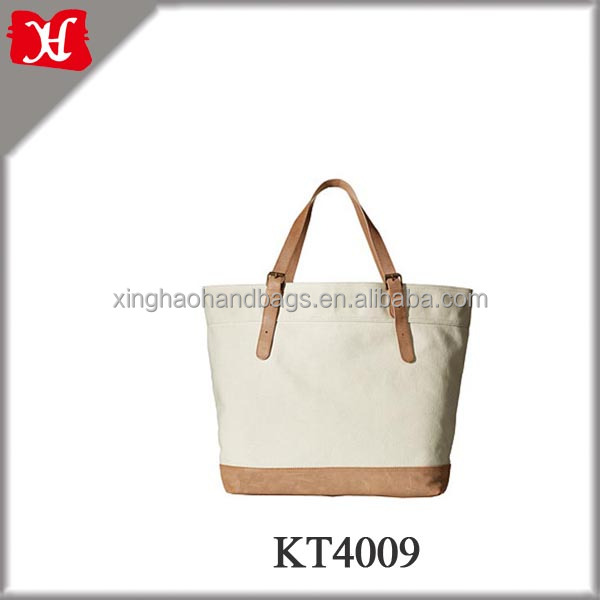 2016 luxury Women customized Cotton Canvas Leather Tote Bag