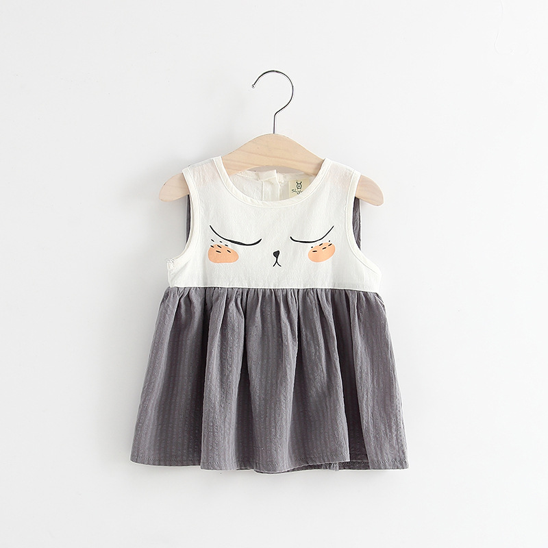BSD1617 2017 Summer New Fashion Models Cute Infant Children's Clothing Female Baby Girls Sleeveless Dress Pattern Rabbit Ears