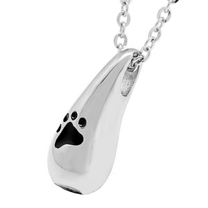 Pet Funeral Jewelry Wholesale Teardrop Pendant 316L Stainless Steel Keepsake Ashes Holder Urn Paw Print Cremation Jewellery