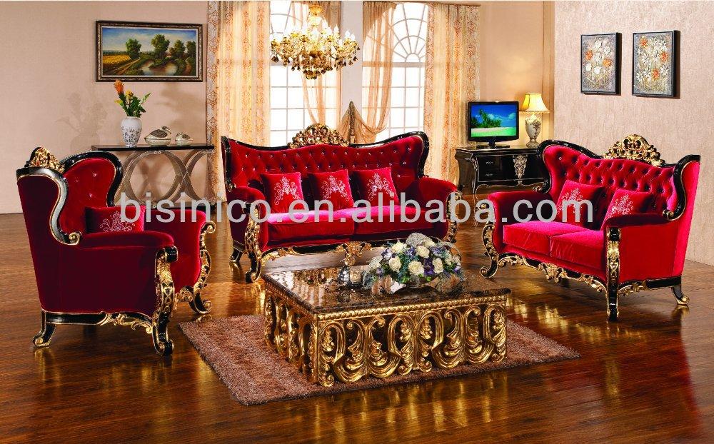 Luxury Gold Leaf Classic Sofa Italian Style Living Room Furniture