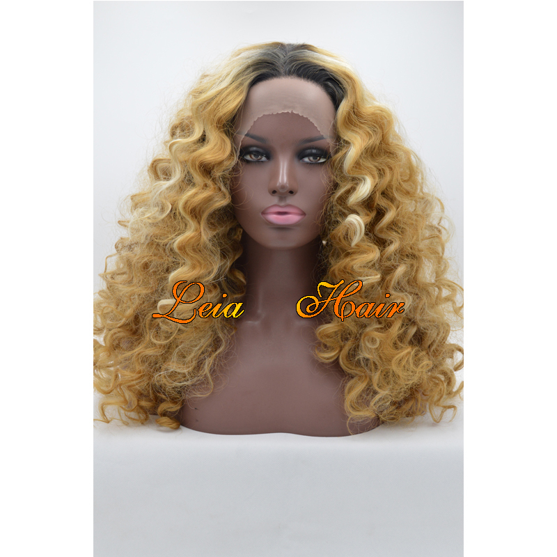 Mixed Brown White Wig Kinky Curly Synthetic Lace Front Wig Heat Resistant Kanekalon Hair Dark Roots Glueless Brown Wig For Women