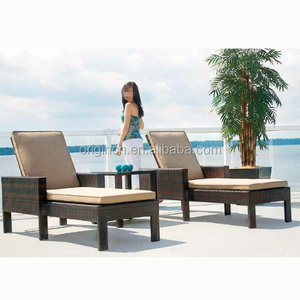 Poly rattan beach chair lounger and square small tea table furniture resort outdoor bali daybed