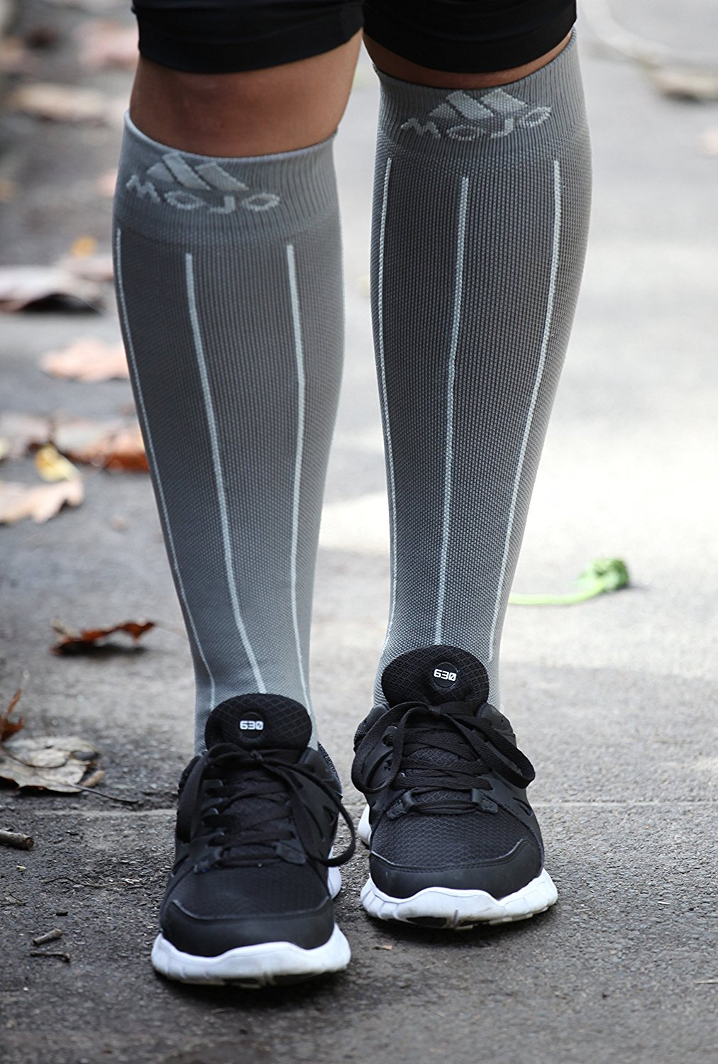 5a5f8892583 Get Quotations · Mojo Grey with Light Grey Stripes 20-30mmHg Knee High  Compression Socks - Moisture Wicking
