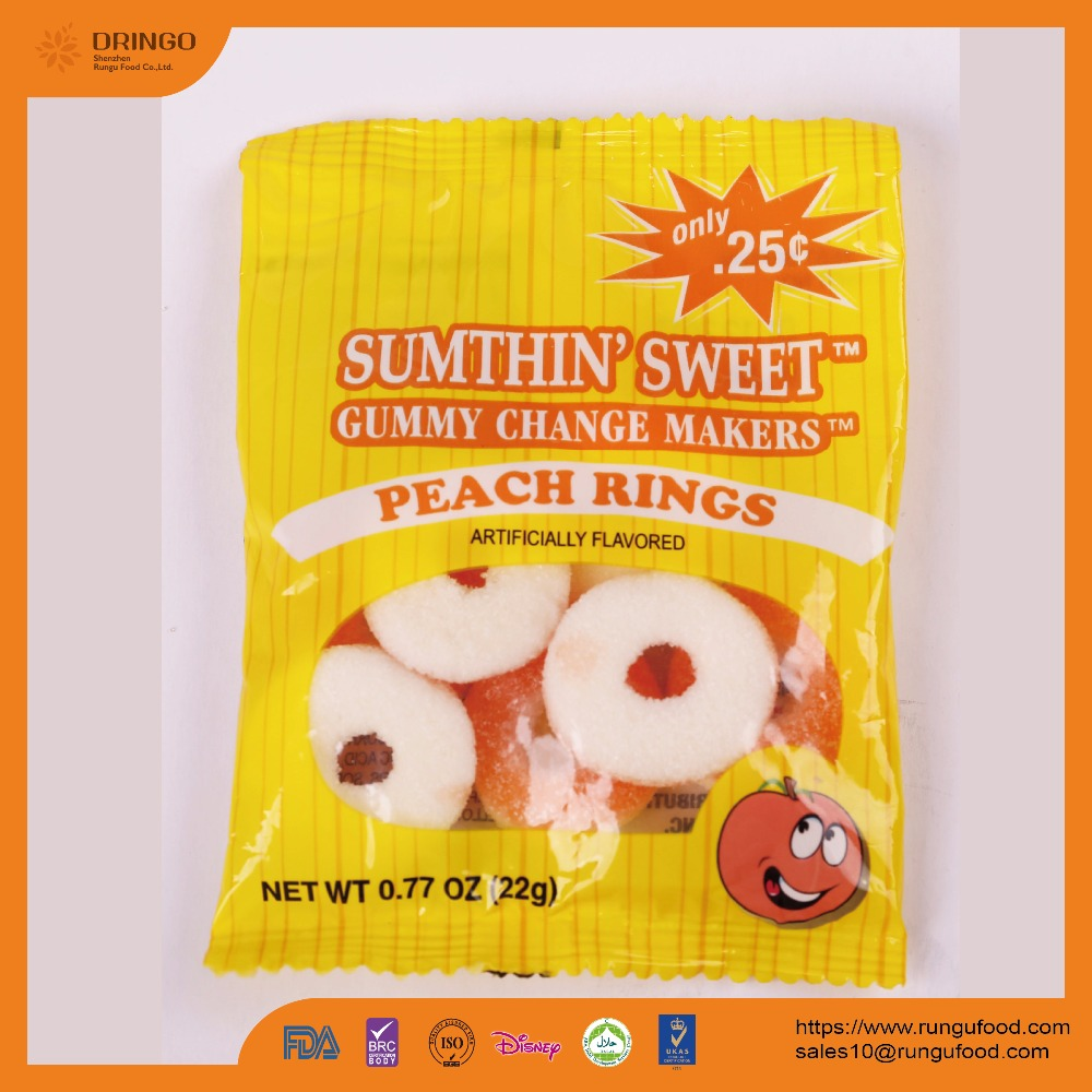 Sour Gummy Peach Rings Candy