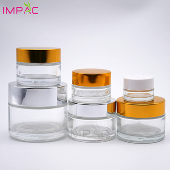 Clear round empty  cosmetic mini glass jar 10g with white plastic screw cap