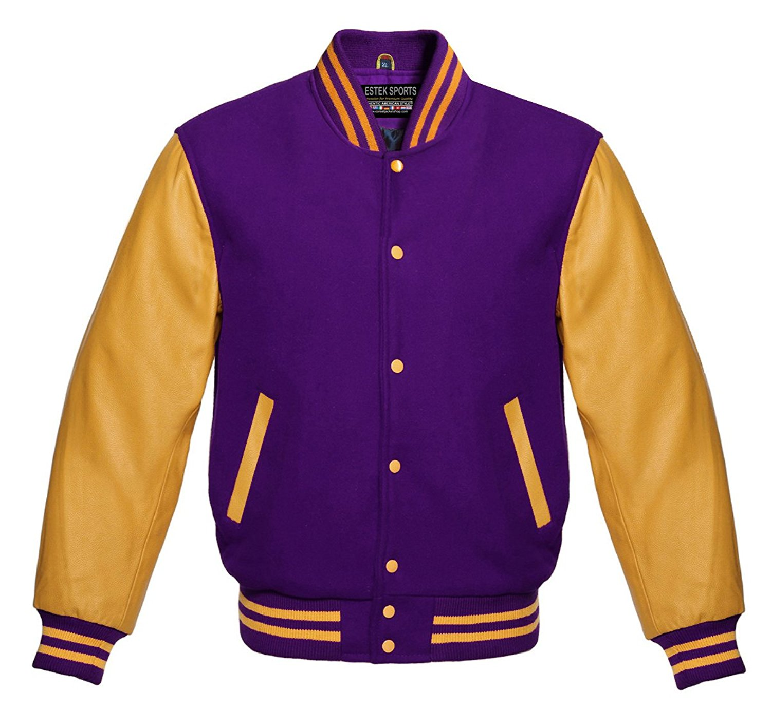 84a55ac0 Get Quotations · Estek Sports Men's Authentic American Varsity Letterman  Jacket Purple Wool & Genuine Gold Leather Sleeves