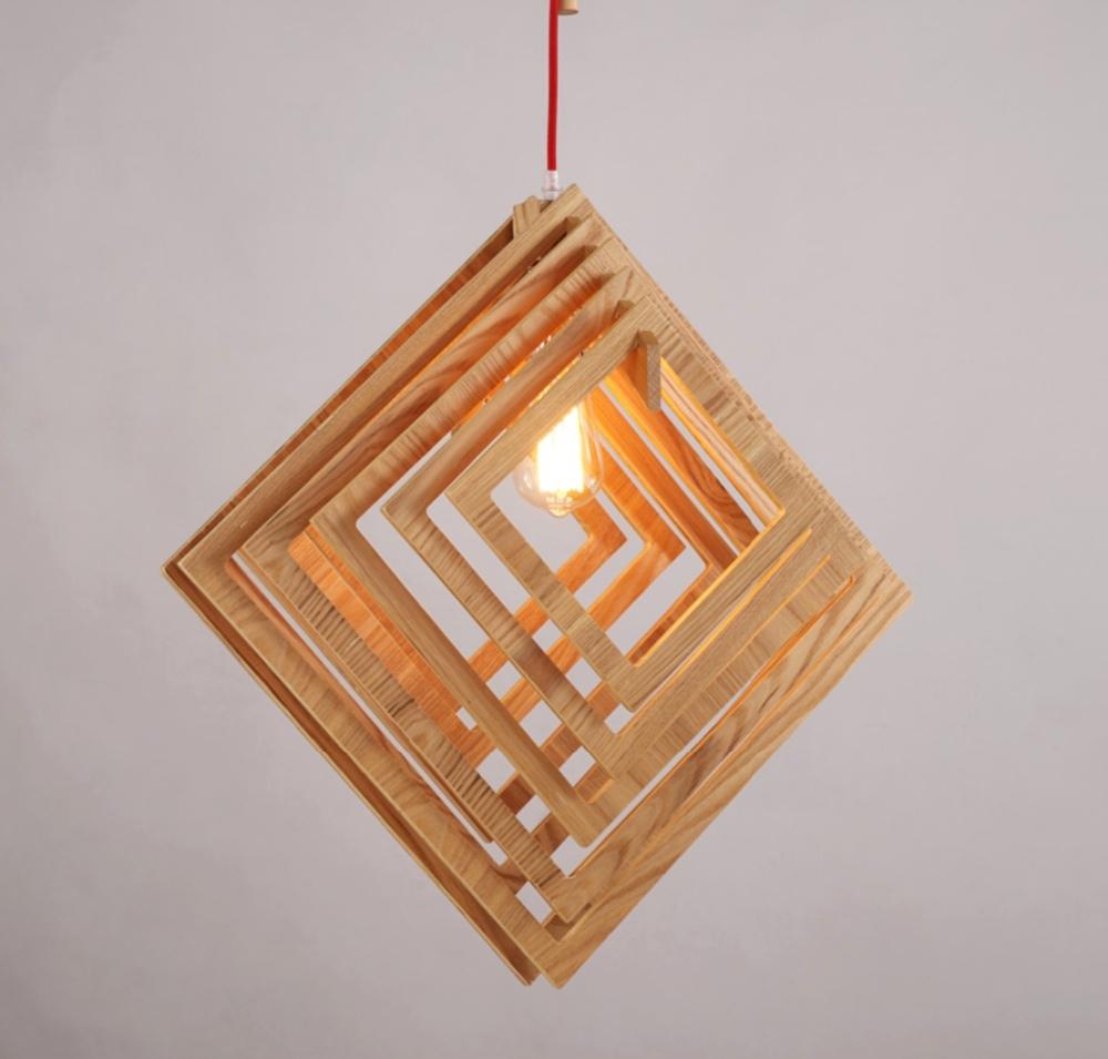노르딕 창조적 인 짧은에 나무 펜던트 램프 광장 모양의 거실 ...