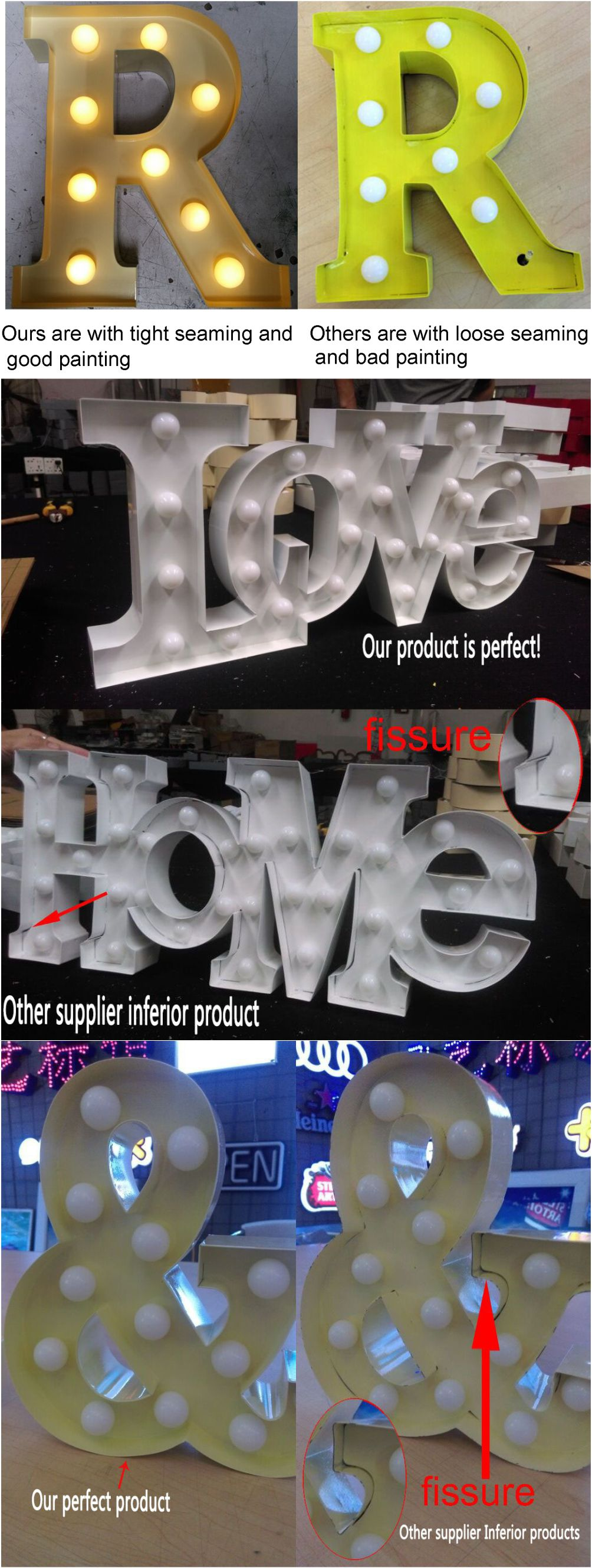 Factory Direct Sale Rusty Advertising Bulb Light Led Iron Vintage Marquee Letters For Sale