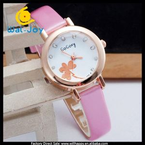 WJ-4549 Fashion simple heart shaped clover women leather small dial Gogoey watch