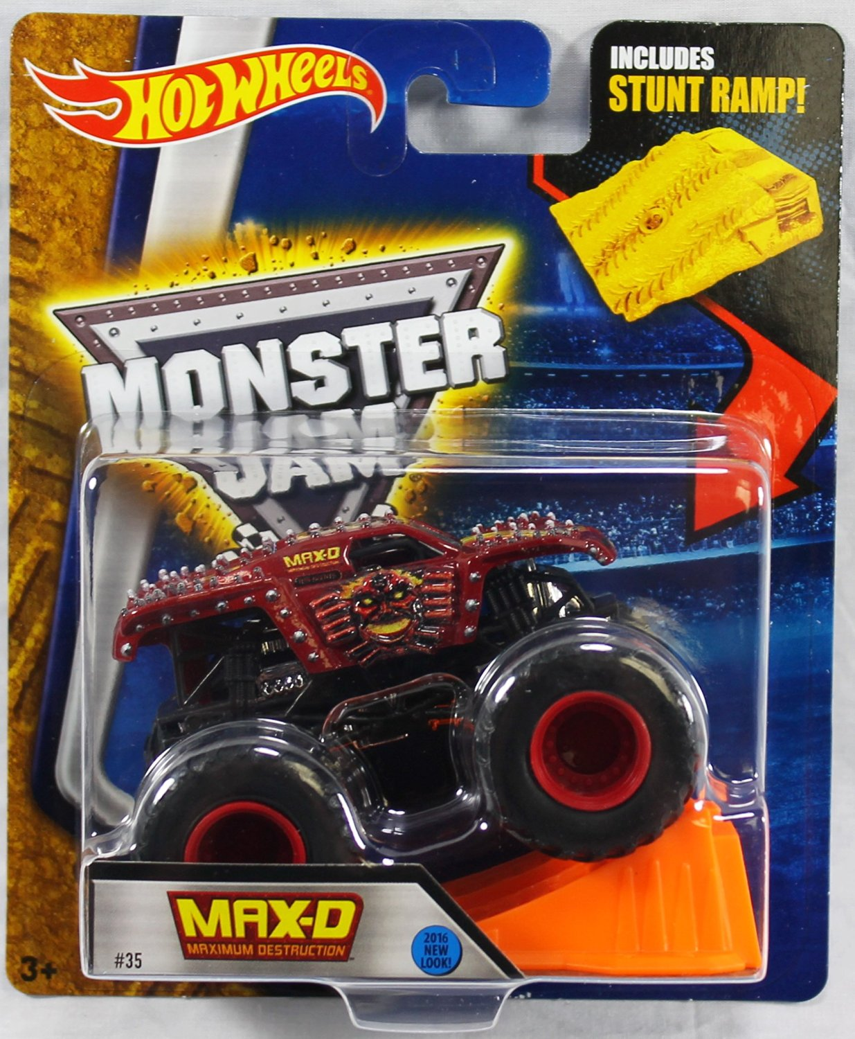 Hot Wheels Monster Jam Max D Maximum Destruction Red 2016 New Look! Includes Stunt Ramp! #35