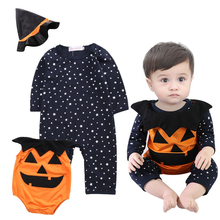 wholesale cotton material 3 Piece Set pumpkin baby halloween costume with cute witch hat
