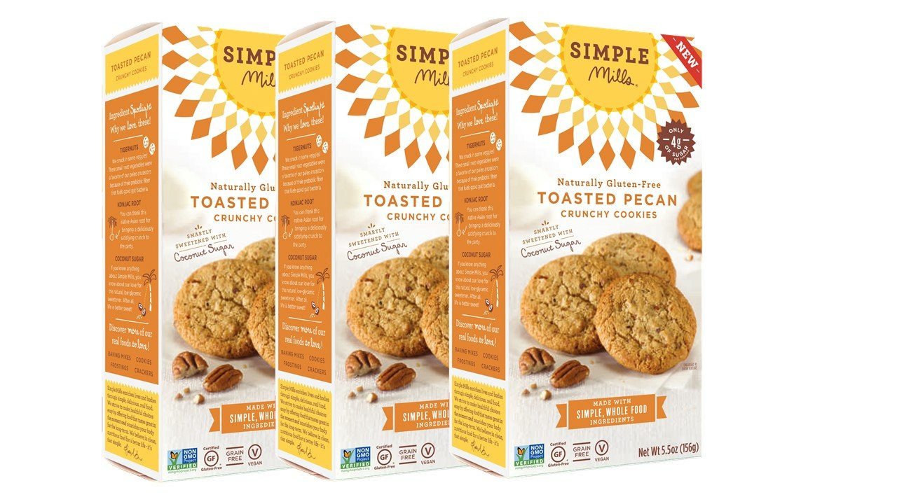 Simple Mills Naturally Gluten Free Crunchy Cookies, Toasted Pecan, 3 Count PACKAGING MAY VARY