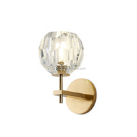 Decorative Moroccan Gold Bronze Crystal Ball Wall Sconce Wall Lamp