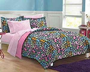 7 Piece Girls Teen Rainbow Leopard Themed Comforter Queen Set, All Over Cheetah Pattern Bedding, Cute Neon Multi Color Animal Print, Blue Pink Orange Green Yellow Black
