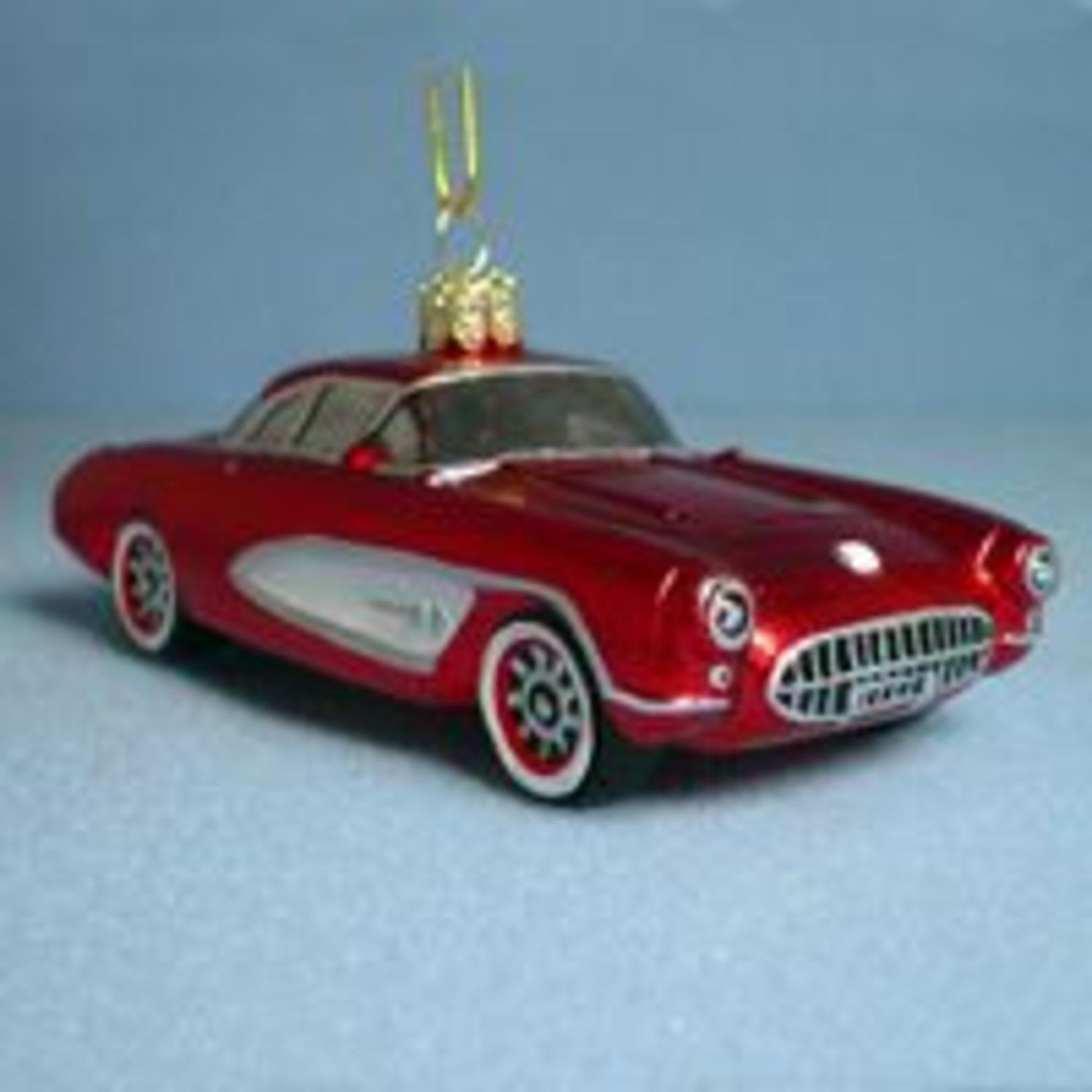 Car Christmas Ornaments.Buy Hand Painted 1957 Red Corvette Glass Car Christmas