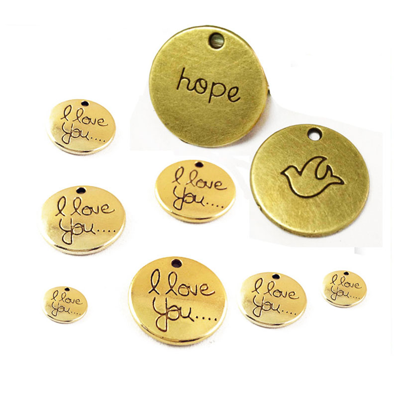 Cheap custom brass iron engraved logo gold silver plated brand blank round metal tag jewelry charms tag for bracelet