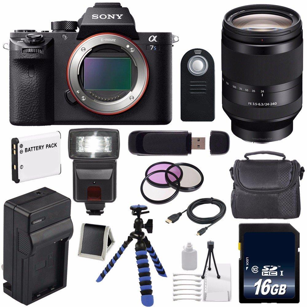 Sony Alpha a7S II a7S Mark II a7SII ILCE7SM2/B Mirrorless Digital Camera (International Model no Warranty) + Sony FE 24-240mm f/3.5-6.3 OSS Lens + 72mm Filter Kit 6AVE Bundle 56