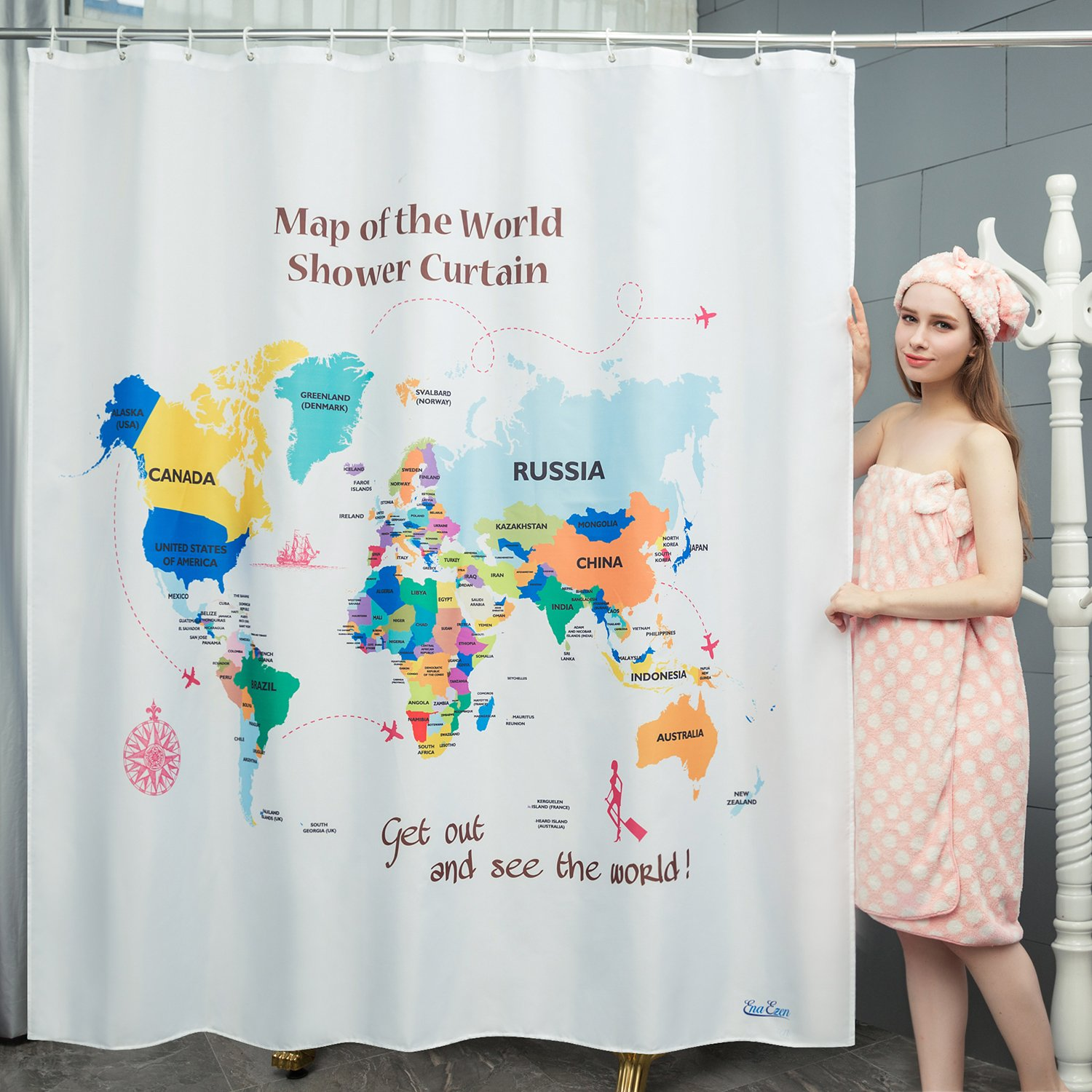Get Quotations EnaEzen Map Of The World Shower Curtains Mildew Resistant Weighted Educational Fabric