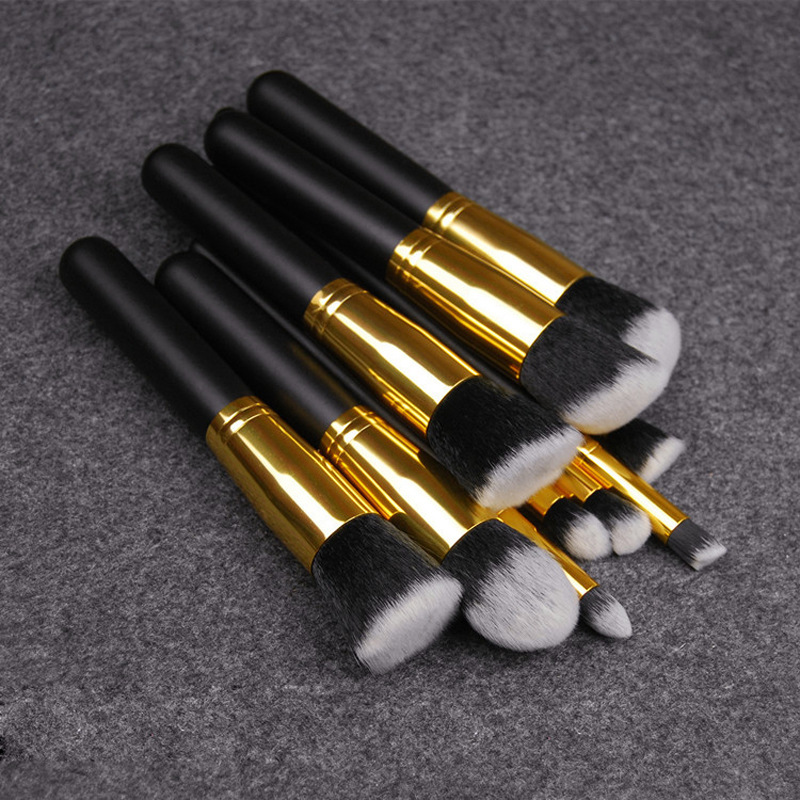 free <strong>sample</strong> 10pcs silver black Professional <strong>Makeup</strong> Brush Set Synthetic Kabuki Brush Private Label Maquillaje Brushes