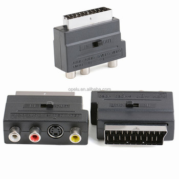 Rgb Scart Male To Composite 3 Rca S-video Audio Cable Tv Adapter Vcr ...