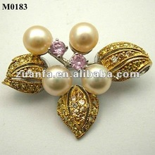 gold plated pearl brooch and pins with cz