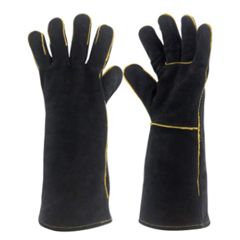 YAOBAO Welding Gloves,Cow Split Leather Gloves,BBQ,Camping,Cooking Gloves,Baking Grill Gloves,Welder Fireplace Stove Pot Holder Work Place Gloves