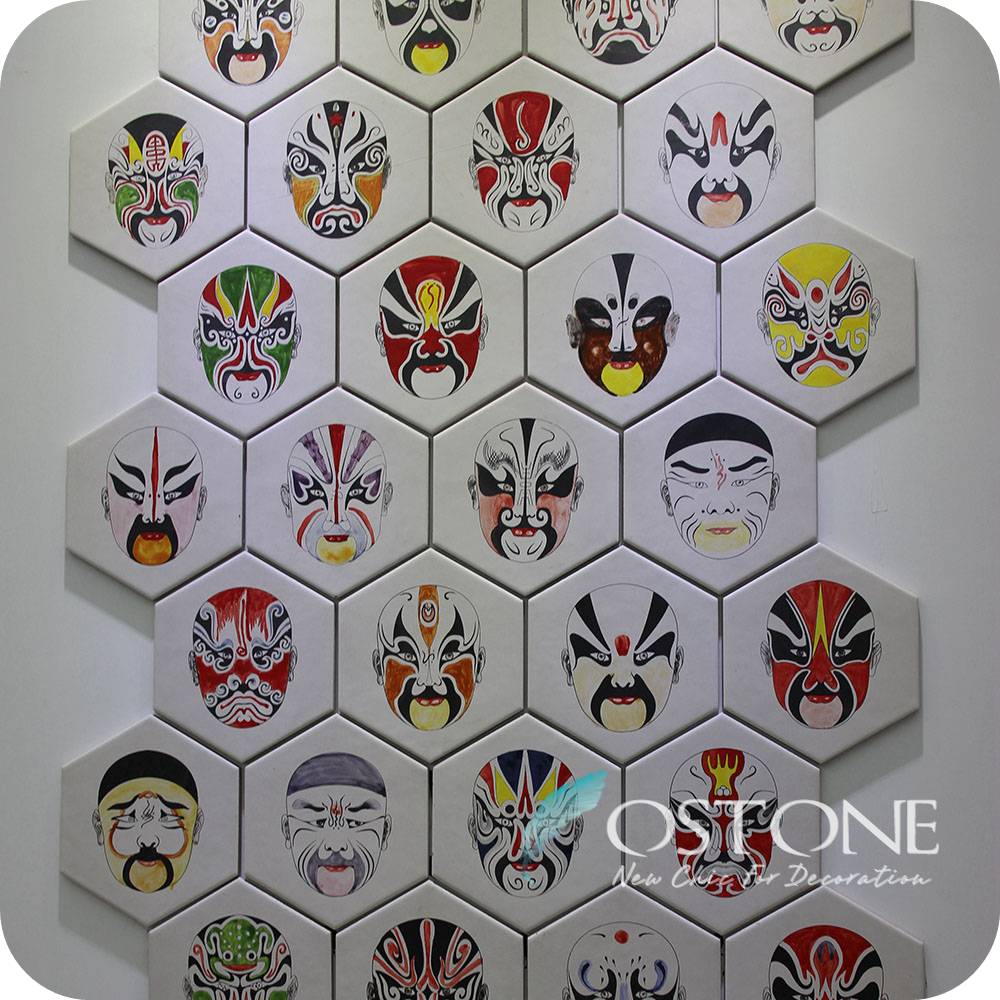 Opera Facial Makeup Hand Painted Decorative Cheap Ceramic Wall Tiles Price in Sri Lanka/Pakistan