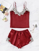 High Grade New Summer Appliques Satin Cami Top With Shorts Sleepwear Two Pieces Hot Night