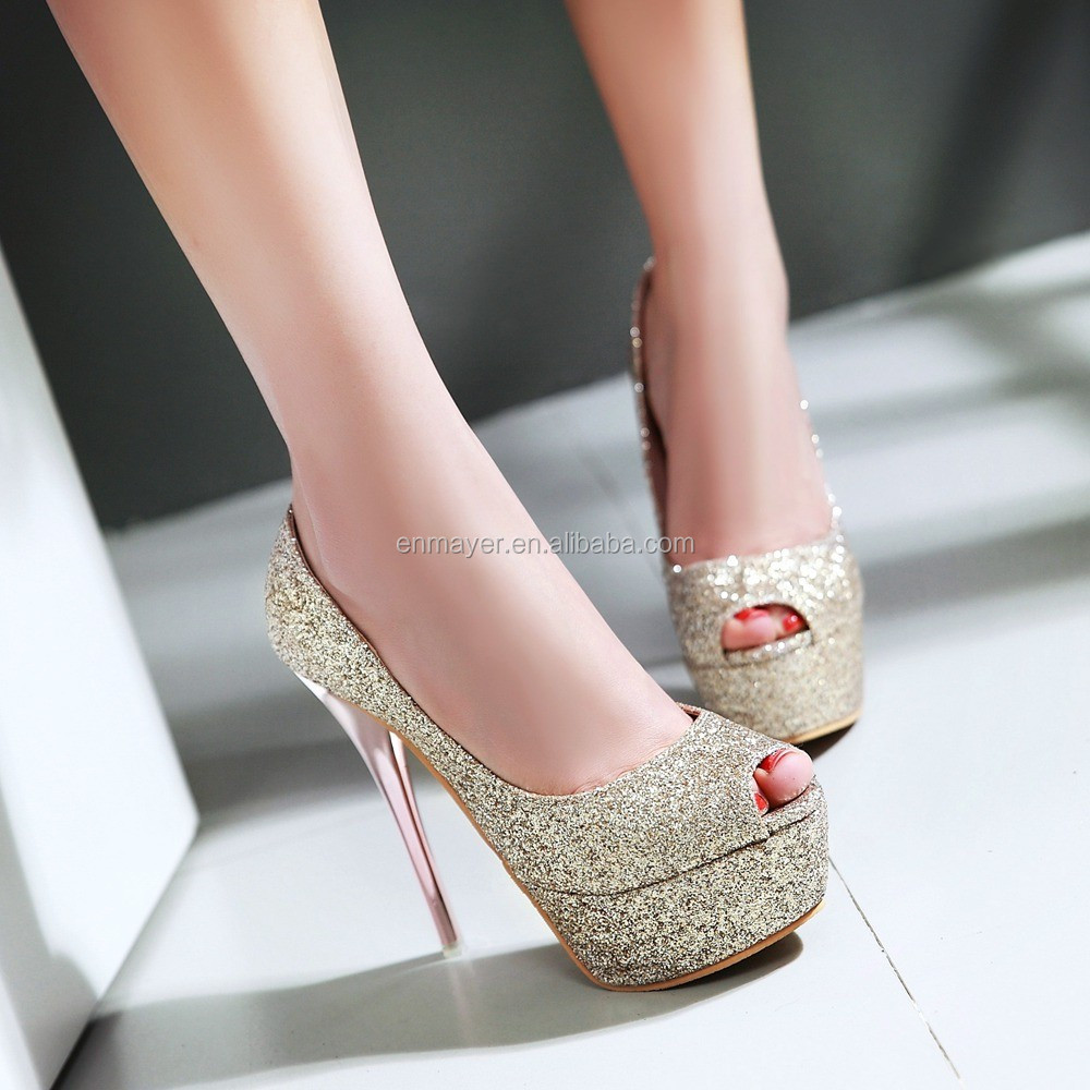 Latest High Heel Shoes For Girls Shining Party Platform Peep Toe ...