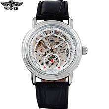 WINNER 2016 Мужские Простые автоматические часы с белым циферблатом, прозрачный стеклянный серебристый чехол с кожаным ремешком(Китай)