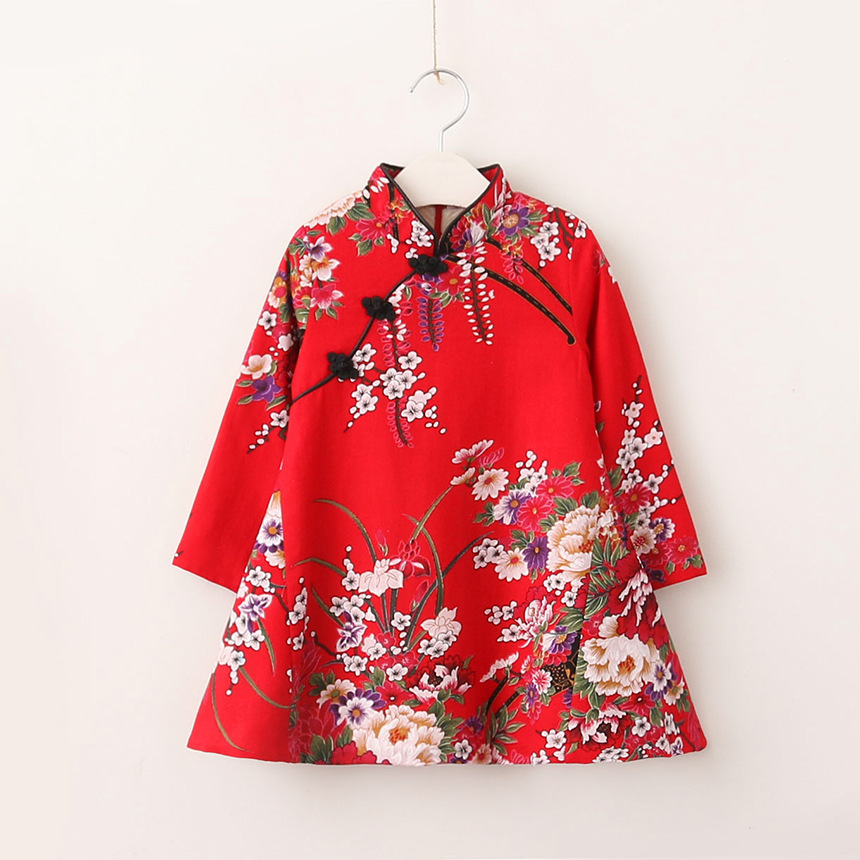 QX1811 Autumn/winter 2017 peony printing dress girls flower dress wholesale